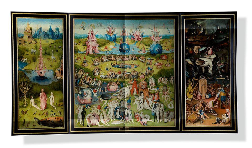 Ausklapptafel des Garten der Lüste, um 1503 Linker Innenflügel: Paradies mit der Zuführung Evas Mitteltafel: Menschheit vor der Sintflut